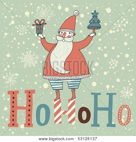 Friendly Santa Claus with gifts on HoHoHo text in vector. Cute cartoon Christmas card in pastel colors