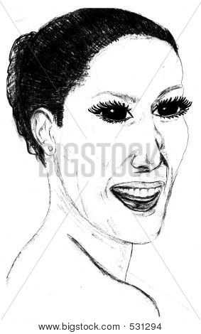 Sketch Of A Happy Woman.