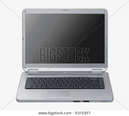Laptop Isolated. Silver Portable Computer. Isolated Black Screen. Front View