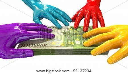 Hands Colorful Grabbing At Euro Notes