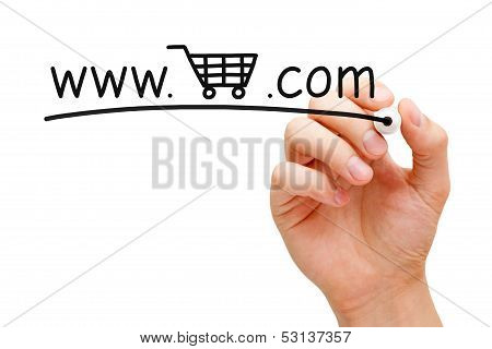 Hand sketching Online Shopping Cart Concept with black marker on transparent wipe board. poster