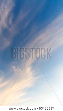 Abstract Background With Windy Clouds On The Evening Sky