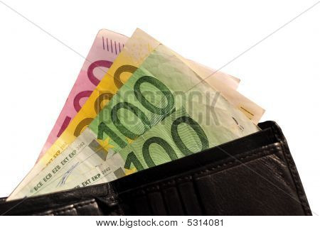 Black Leather Wallet And 900 Euros