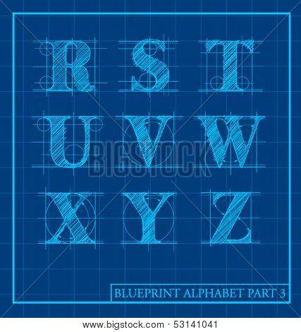 vector blueprint style font alphabet set 3