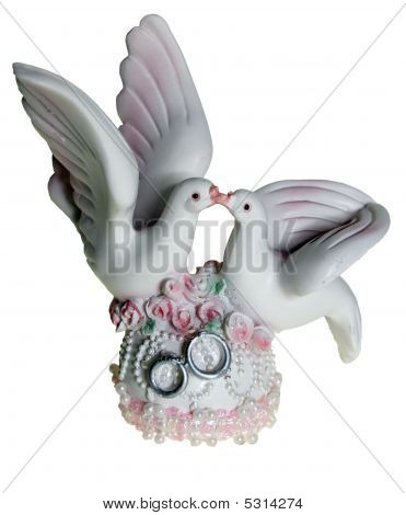 Porcelain Souvenir Representing Kissing Pigeons On Wedding
