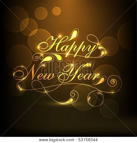 Happy New Year 2014 celebration concept with stylize golden text on brown background.