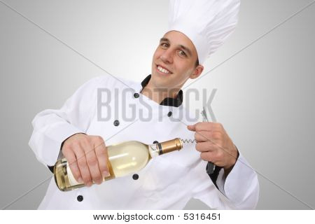 Chef Opening Wine Botttle