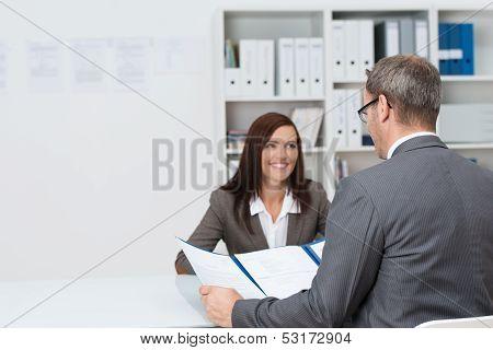 Businessman Conducting An Employment Interview