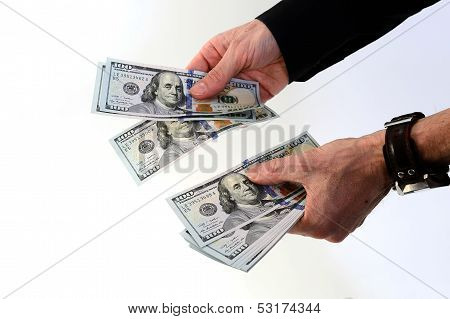 Hands Holding A Lot Of Money