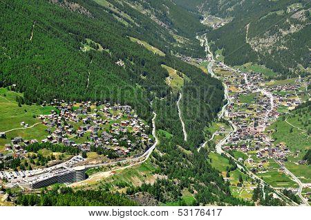 View of Saas Fee and Saas Grund, Switzerland