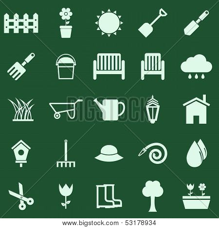 Gardening Color Icons On Green Background