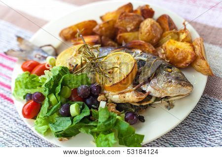 Fish, salad and potato