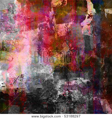 combined abstract mixed media painting and graphic textures poster