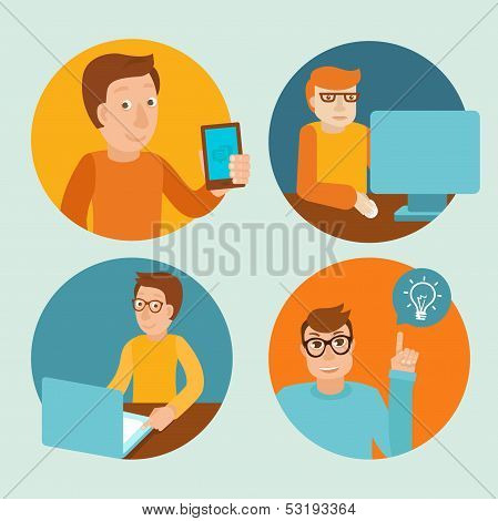 Vector Characters Working At Computers