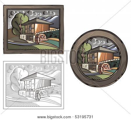 Vector illustration of a watermill, done in retro woodcut style.