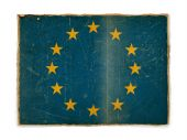 old weathered flag of Europe paper textured poster