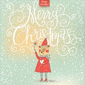 Merry Christmas card in cartoon style. Beautiful holiday background with Santa bear under snowfall in stylish colors in vector poster