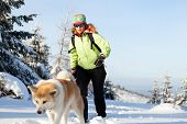 Woman hiking in winter mountains with akita dog. Female hiker walking on white snow with her dog friend sport and recreation outdoors in nautre Poland. poster