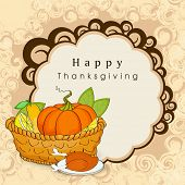 Happy Thanksgiving Day background with wooden basket full with vegetables, fruits, green leaves and meal on floral decorative background.  poster