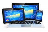 Stock exchange market trading, banking and financial business accounting concept: modern metal laptop notebook tablet computer PC and touchscreen smartphone with stock market application software isolated on white background with reflection effect poster