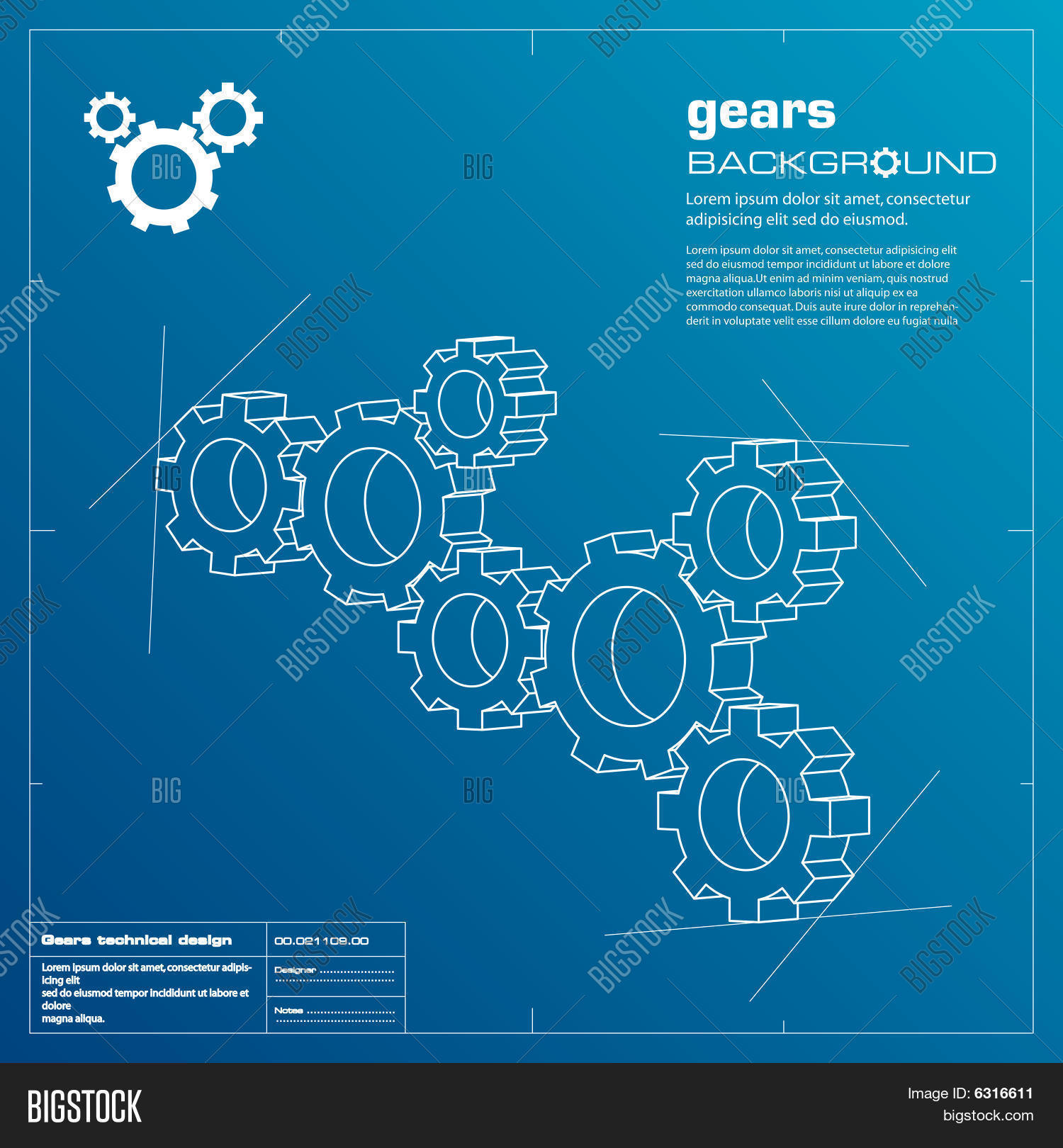 Gears blueprint vector photo free trial bigstock gears blueprint background vector malvernweather Images