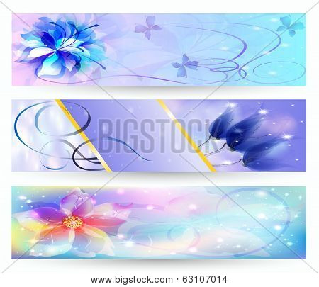 Beautiful Abstract Background With Flowers Banner