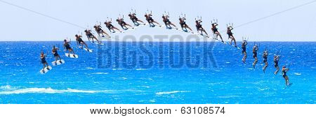 kite boarder sequence on the Ionian island of Lefkas in Greece