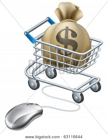 Mouse connected to trolley full of money in a big sack with a dollar symbol on it. Perhaps a concept for rewards for shopping on line like cashback sites. poster