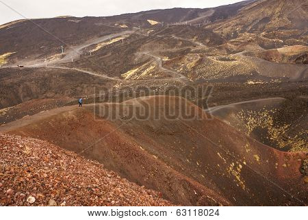 View Of The Volcanic Landscape Around Mount Etna