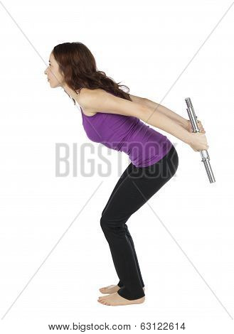 Fitness Woman Doing Triceps Kickback With Weights During Workout