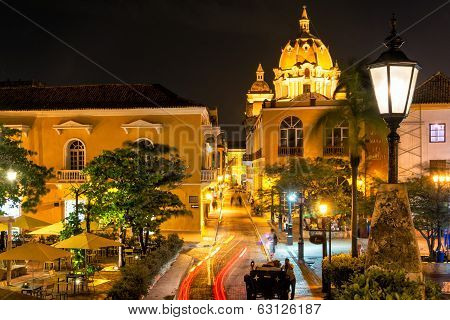 Cartagena Plaza At Night