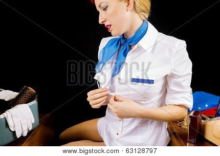 Sexy Retro Stewardess Undressing Or Dressing