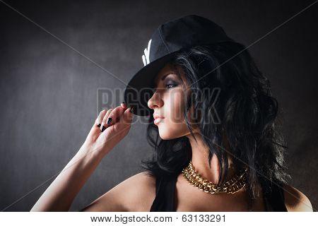 Sexy Brunette In Cap