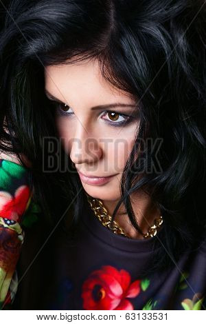 Portrait Of Pretty Sexy Brunette In Flower Sweatshirts. Swag Girl. Fashion
