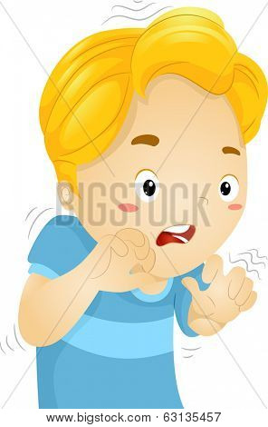 Illustration of a Little Boy Quivering in Fear