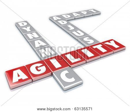 Agility, Dynamic, Adjust and Adapt Word Letter Tiles Game