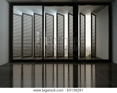 Empty room with fantastic window with blinds