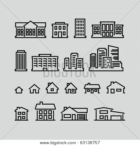 Building icons set. Strokes not expanded. Outlines not converted to objects.