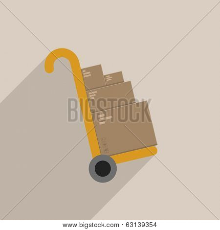 minimalistic illustration of a handtruck or trolley with cardboxes, eps 10 vector