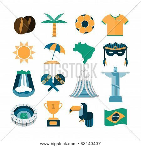 set of vector Brazil icons
