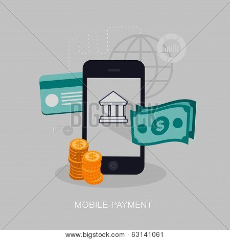 vector mobile payment concept illustration