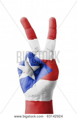 Hand Making The V Sign, Puerto Rico Flag Painted As Symbol Of Victory, Win, Success - Isolated On Wh
