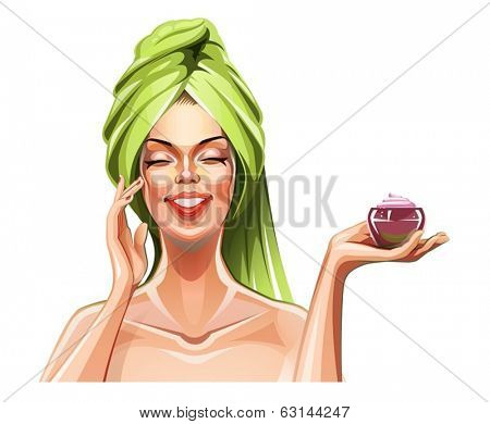 Beautiful girl with cream. Eps10 vector illustration. Isolated on white background