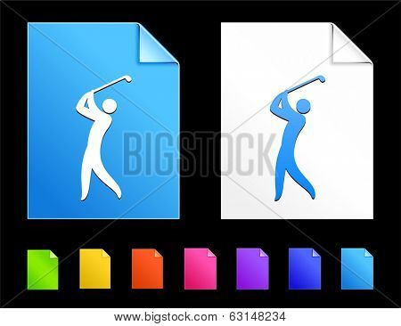 Golf Icons on Colorful Paper Document Collection poster