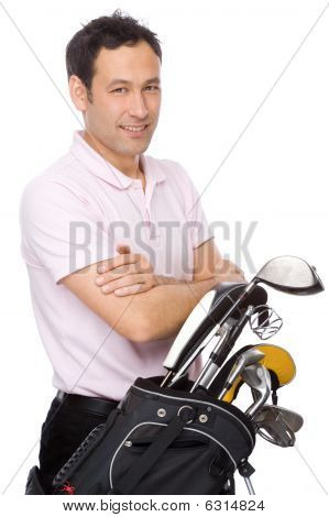 Man With Golf Kit