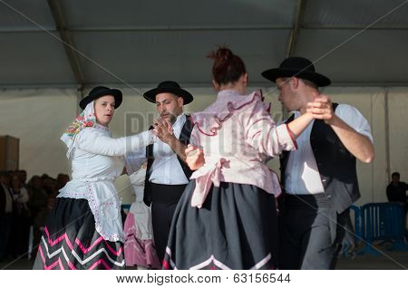 MERTOLA, PORTUGAL - MARCH 29: An unidentified people performs a Traditional Portuguese folkloric music on stage at river fish festival  MARCH 29, 2014 in Mertola, Portugal.