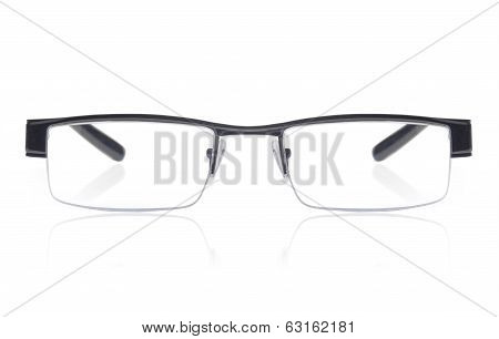 Modern glasses with reflection over white background poster
