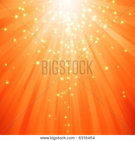 glitter stars descending on beams of light