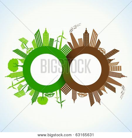 Eco and Polluted city around infinity symbol