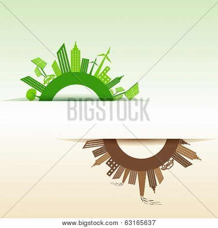 Eco and Polluted city concept